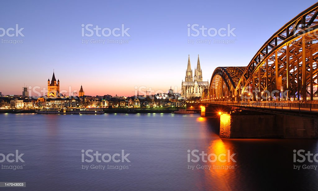 A beautiful view of the skyline of Cologne stock photo