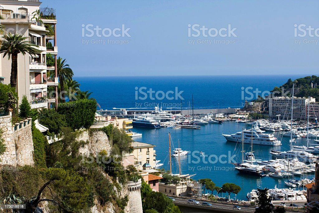 A beautiful view of the sum beaming down on Monaco stock photo