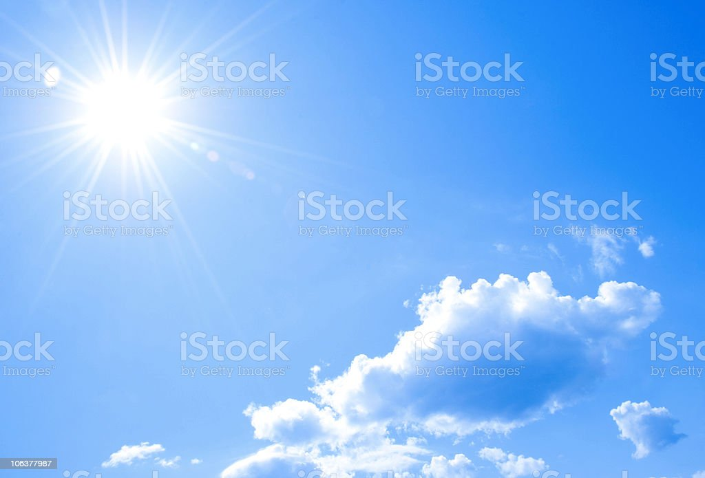 Beautiful view of the sunlight in the blue sky stock photo