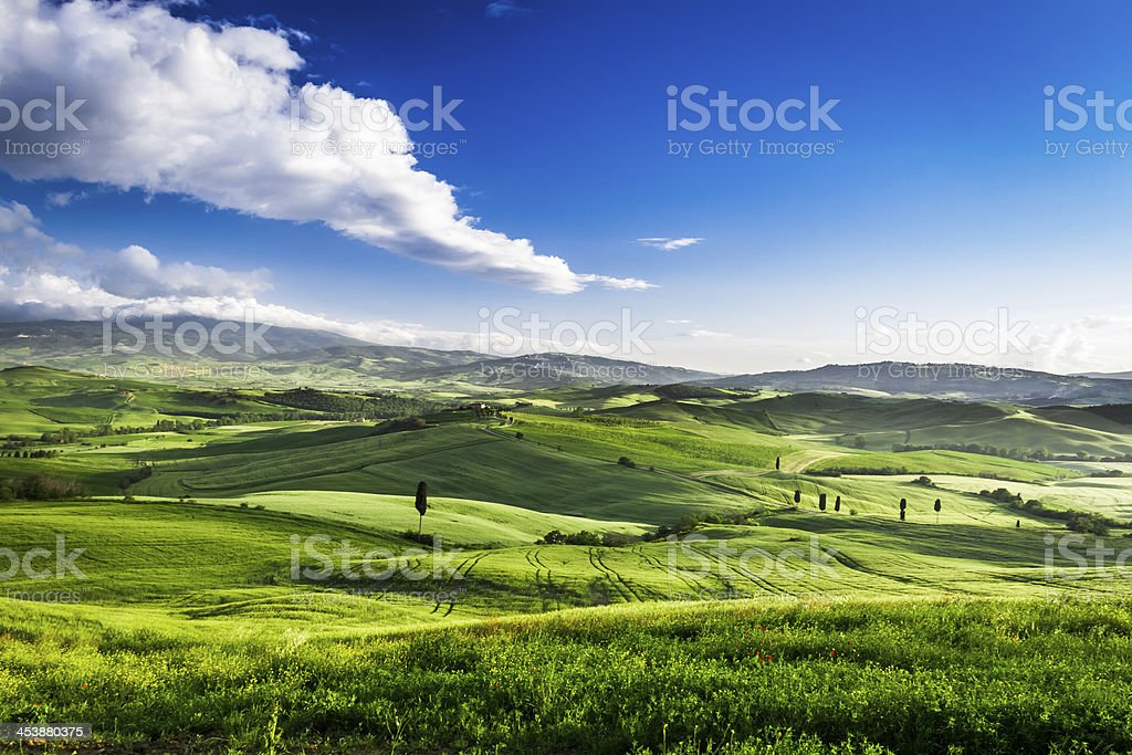 Beautiful view of the sunset over green valley royalty-free stock photo