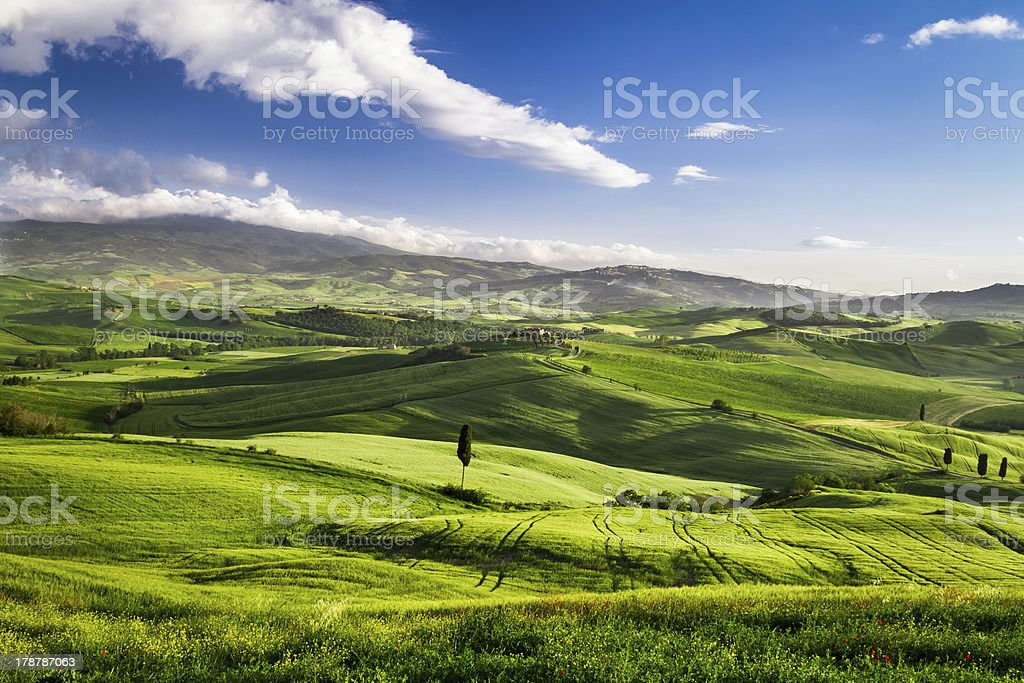Beautiful view of the sunset over valley, Tuscany royalty-free stock photo