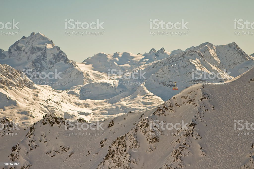 Beautiful view of the Swiss Alps from above in winter stock photo