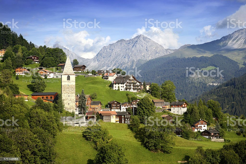A beautiful view of the village in the Swiss alps stock photo