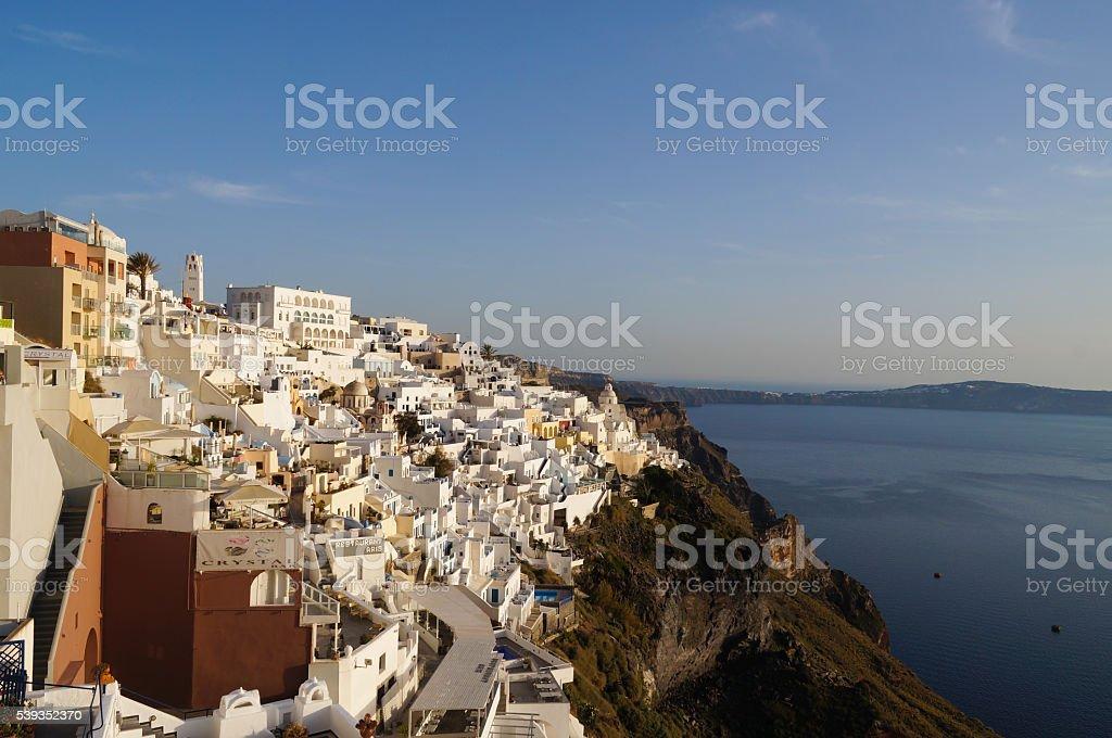 Beautiful view of Thira in Santorini,Greece. stock photo