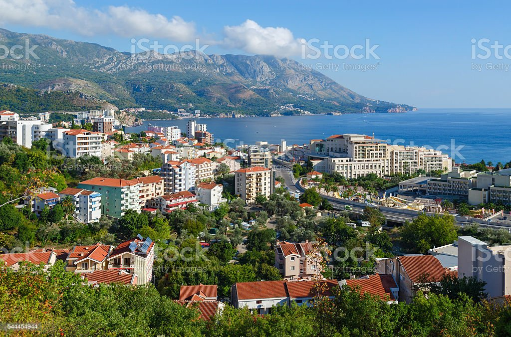 Beautiful view of town of Becici on Adriatic coast, Montenegro stock photo