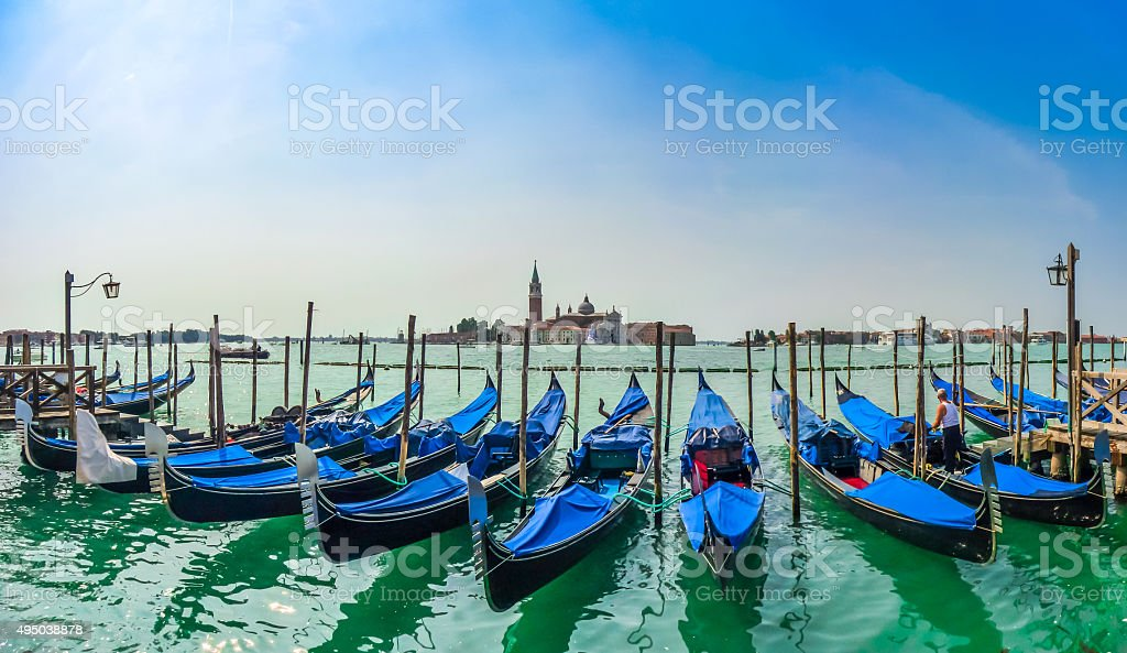 Beautiful view of traditional Gondolas on Canal Grande, Venice, Italy stock photo