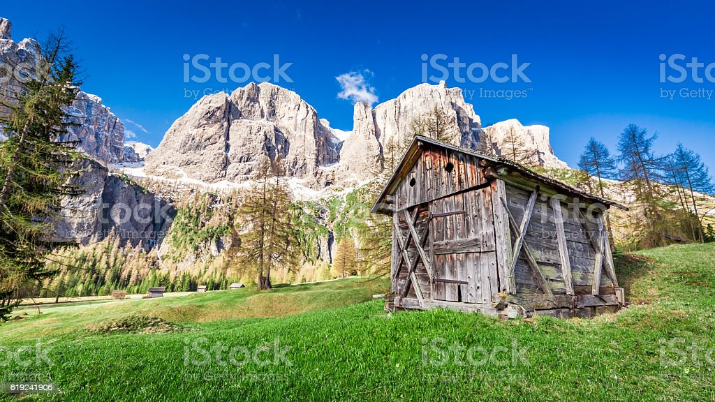 Beautiful view of valley in Dolomites, Italy stock photo