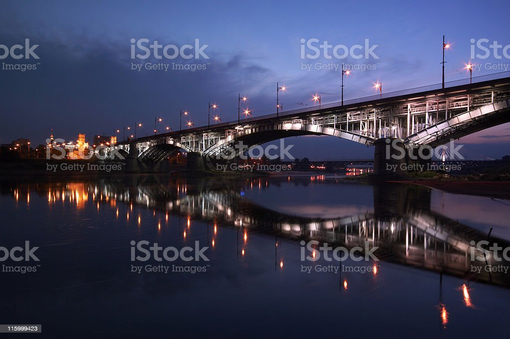 A beautiful view of Warsaw in the night sky royalty-free stock photo