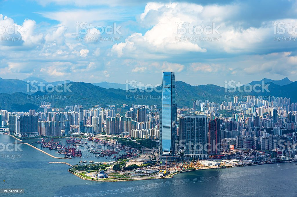 Beautiful view of West Kowloon from Victoria Peak stock photo