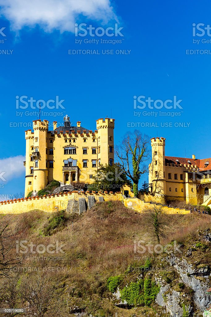Beautiful view of world-famous Hohenschwangau Castle in Germany. Bavaria stock photo