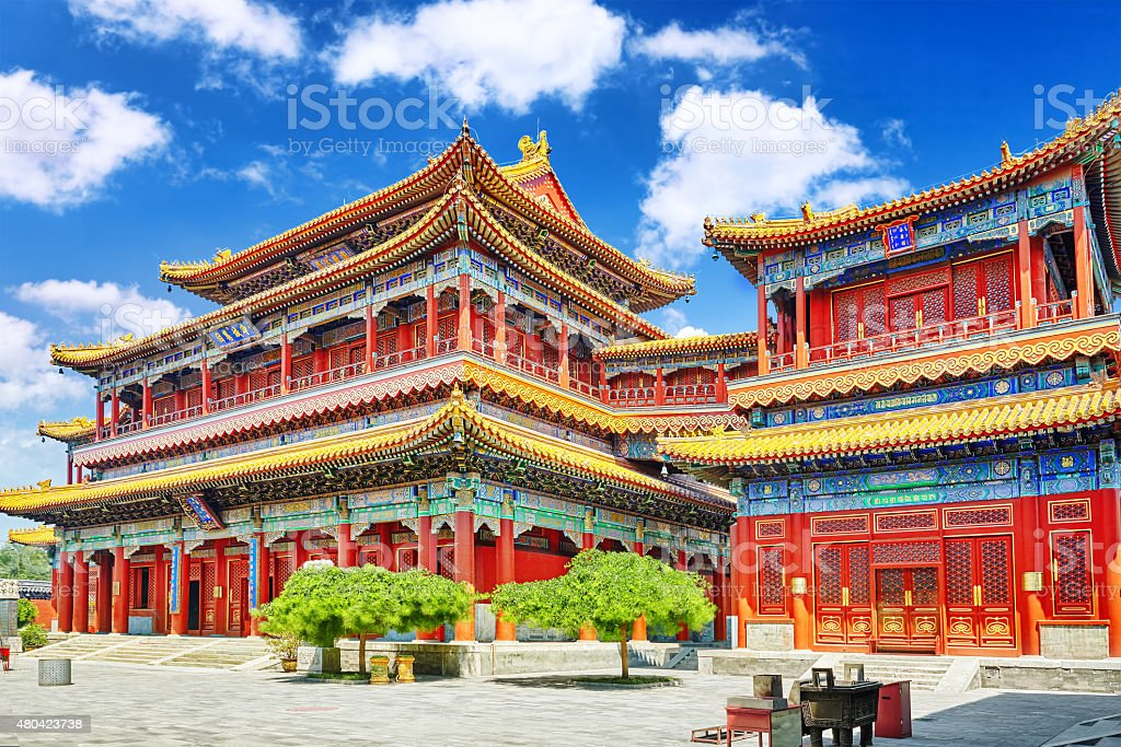 Beautiful View of Yonghegong Lama Temple.Beijing. stock photo