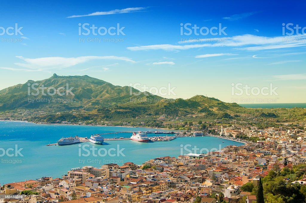 A beautiful view of Zakynthos City with water and a town stock photo