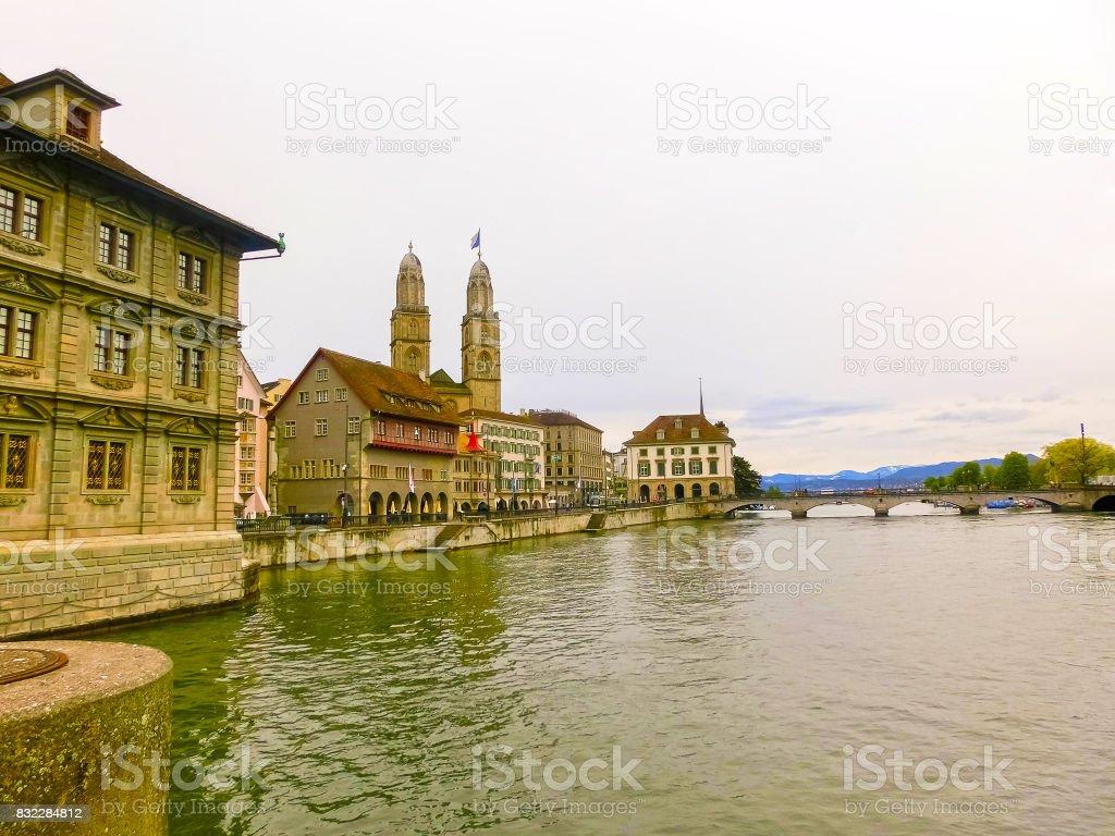 Beautiful view of Zurich and river Limmat, Switzerland stock photo