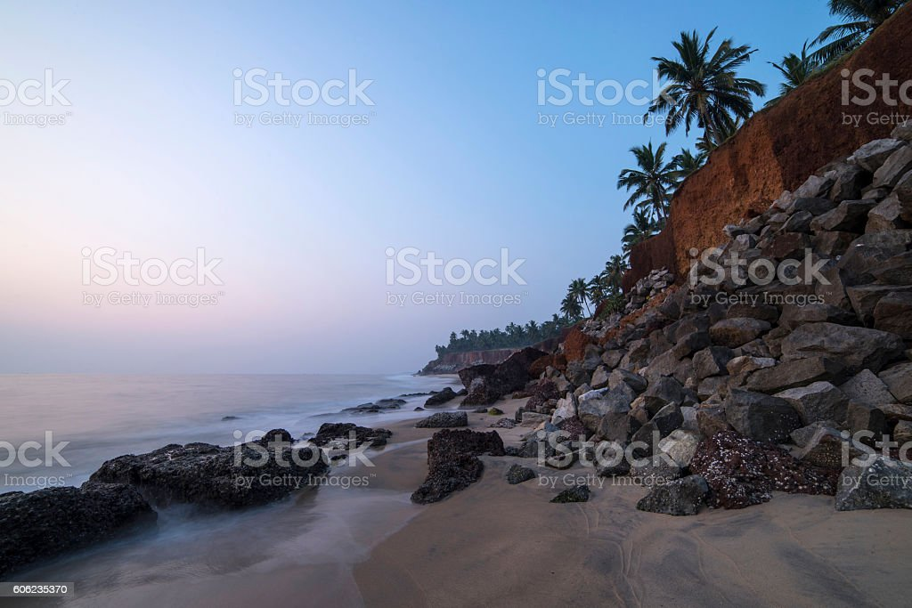 beautiful view on a cliff by the ocean stock photo