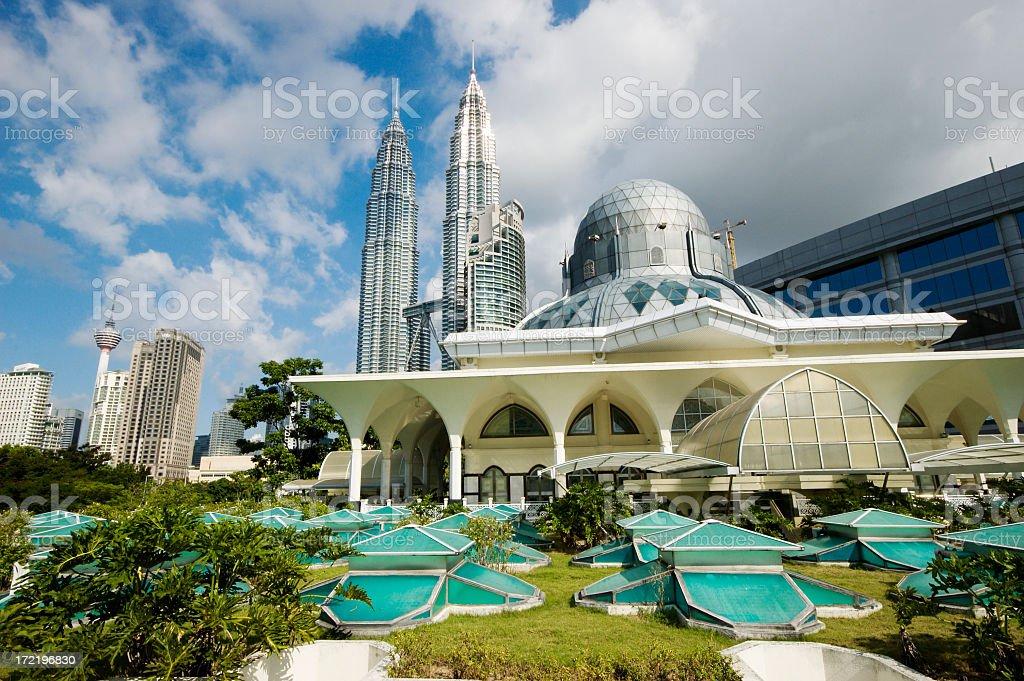 Beautiful view on Asy-Syakirin Mosque with Petronas Towers stock photo