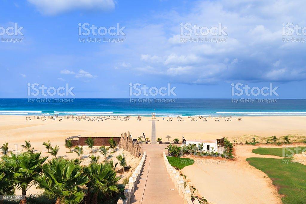Beautiful view on beach and ocean, Boavista, Cape-Verde stock photo