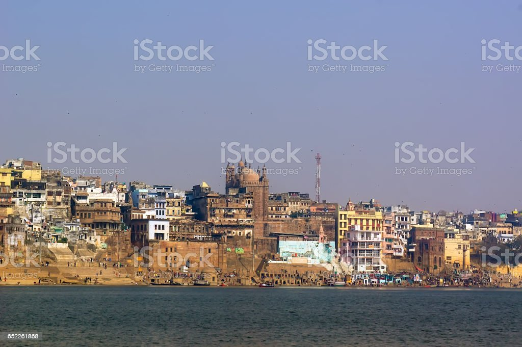 beautiful view on city in the morning in Varanasi. stock photo