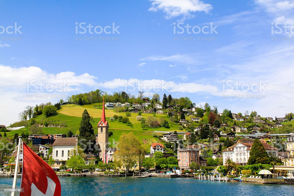 Beautiful view on city of lake in swissland stock photo