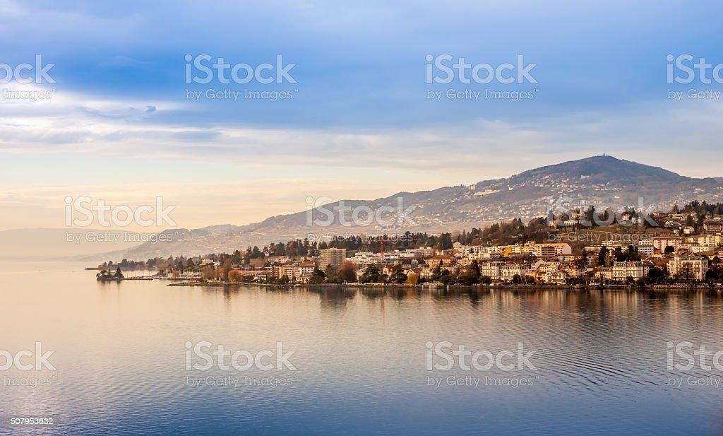 Beautiful view on Geneva Lake and Montreux stock photo