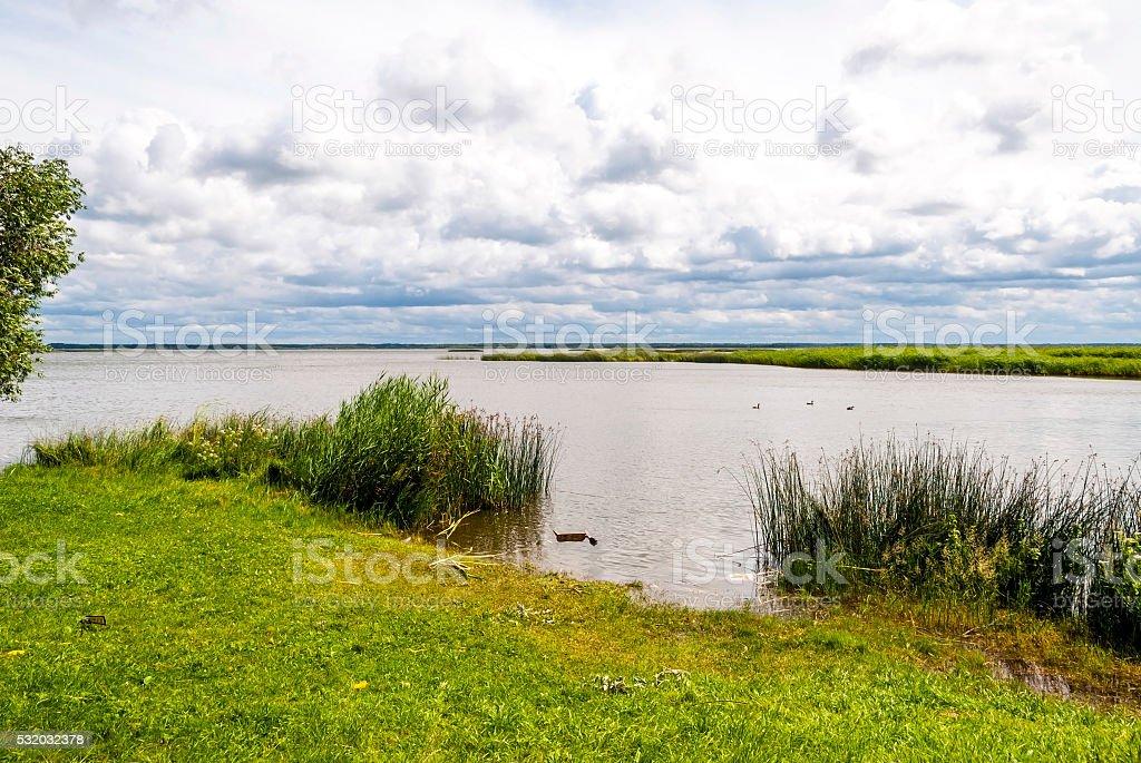 Beautiful view on Liepaja lake in Latvia stock photo