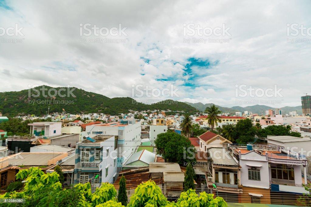 Beautiful view on Nha Trang blue sky background Vietnam. Nha Trang city panorama with mountains Vietnam stock photo