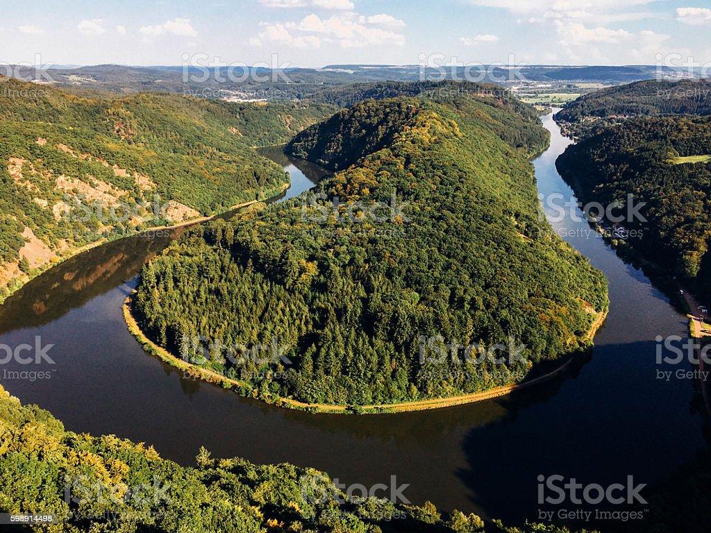 Beautiful View on Saarschleife in Germany stock photo