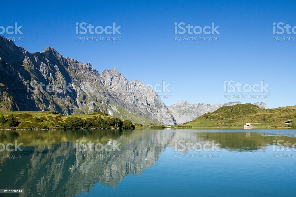 Beautiful view on swiss mountain lake Truebsee in Engelberg stock photo