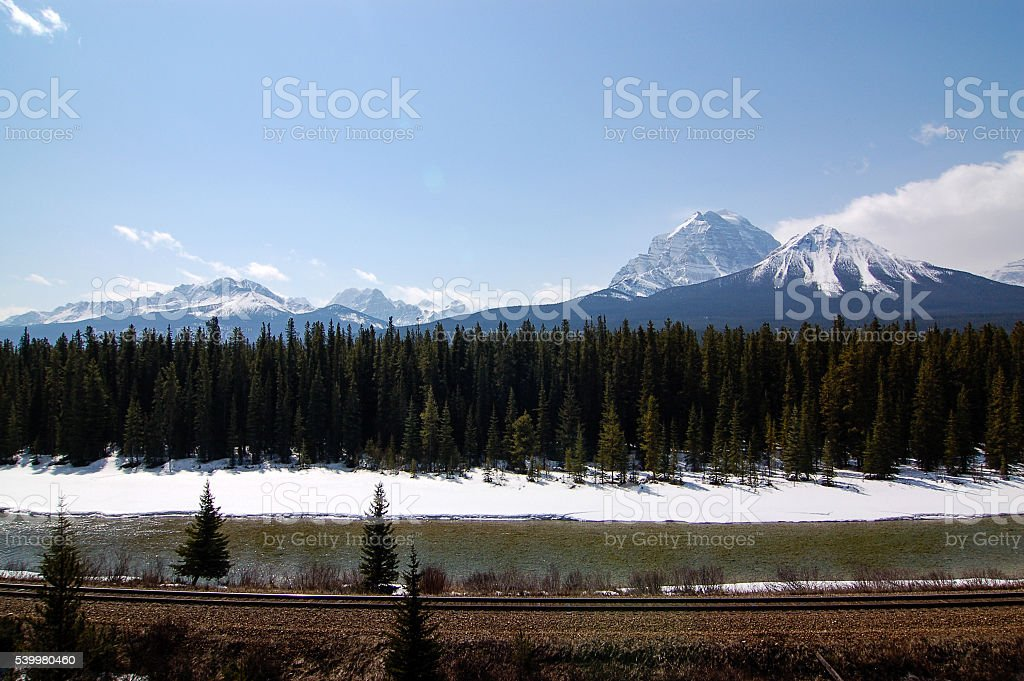Beautiful view on the Bow valley parkway stock photo
