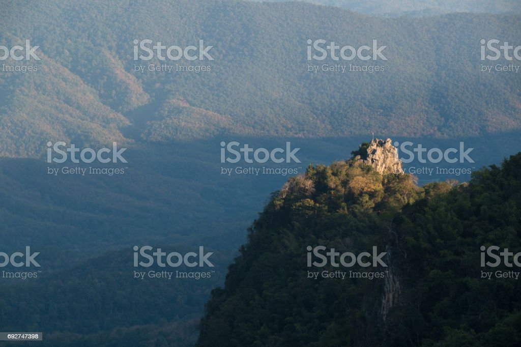 Beautiful view point at Doi Pha Chu in Si Nan National Park , High mountain in Nan province, Thailand stock photo