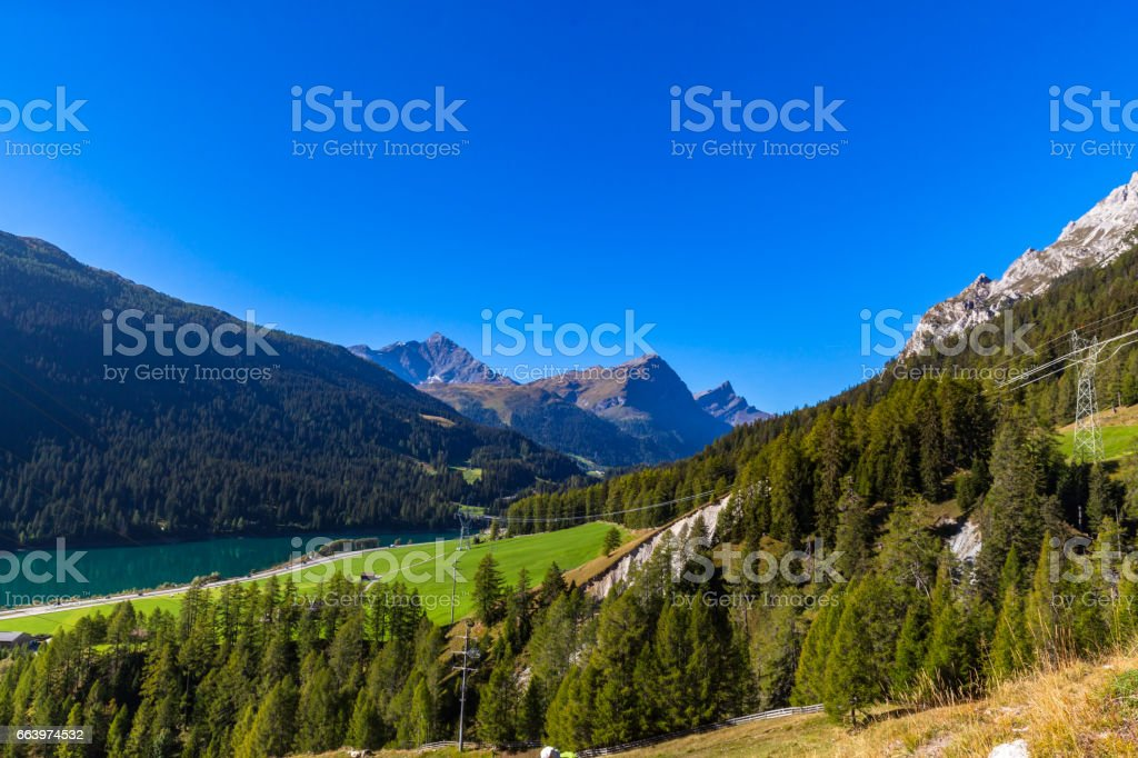 Beautiful view the Alps in Grisons stock photo