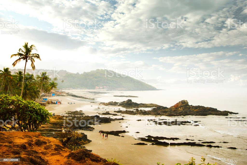 beautiful view to Goa beach from high, India. stock photo