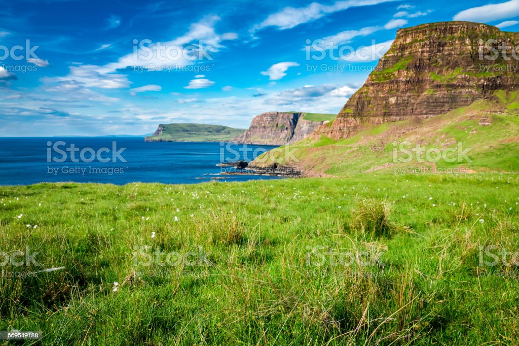 Beautiful view to sheeps on the cliff, Scotland stock photo