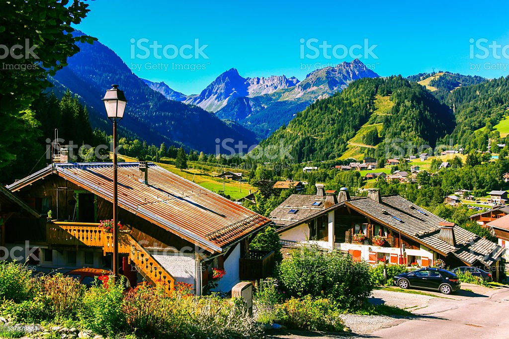 Beautiful view village in valley of French Alps stock photo