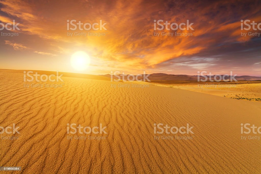 Beautiful views of the Gobi desert. Mongolia. stock photo