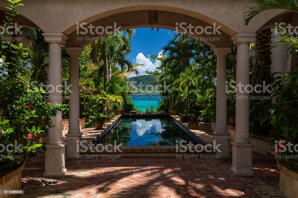 beautiful villa on the beach in St John, Virgin Islands stock photo