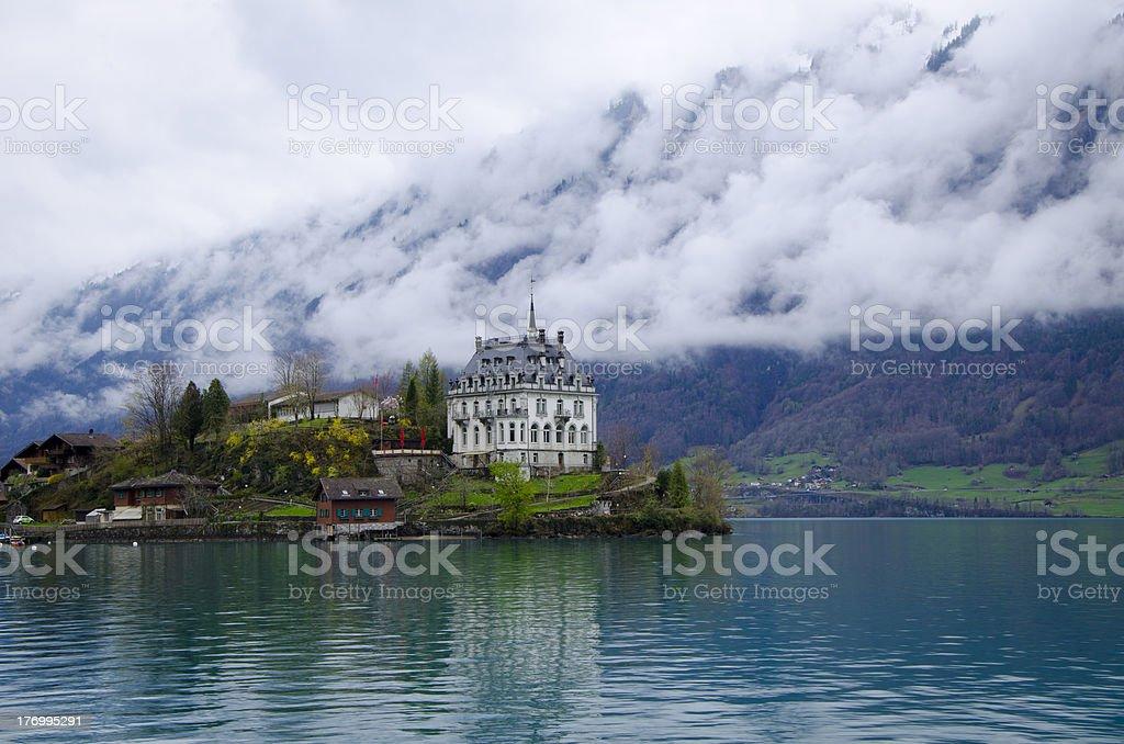 Beautiful village near the lake stock photo