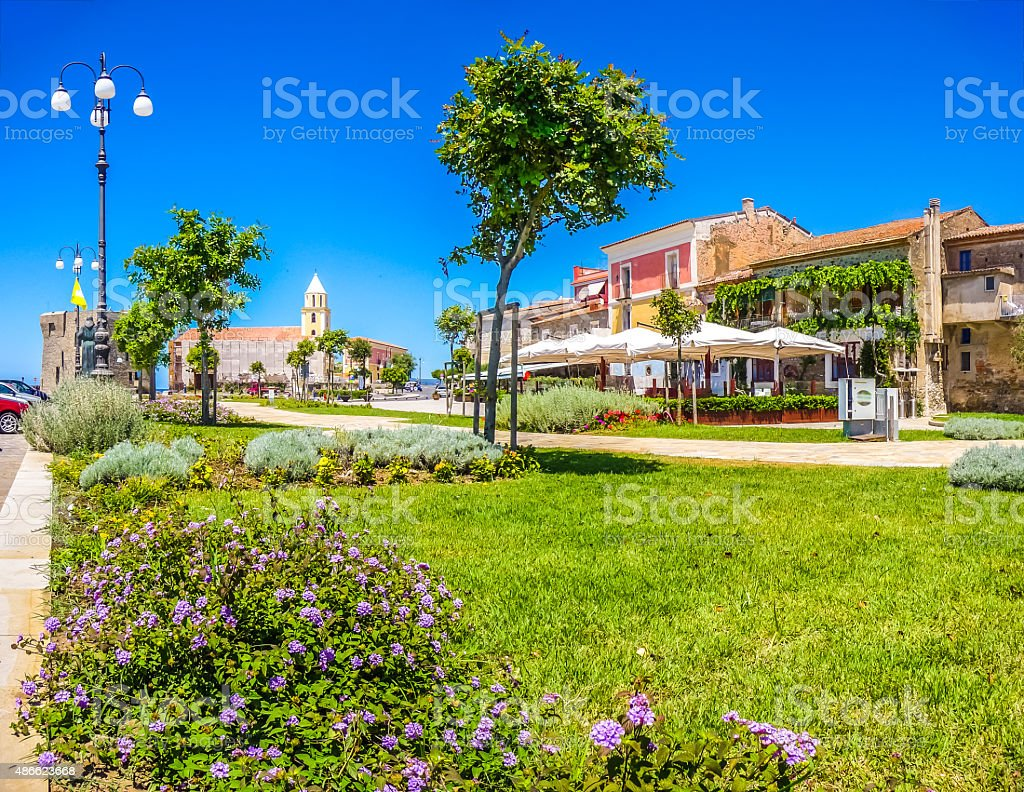 Beautiful village of Acciaroli at the Cilentan Coast, Campania, Italy stock photo