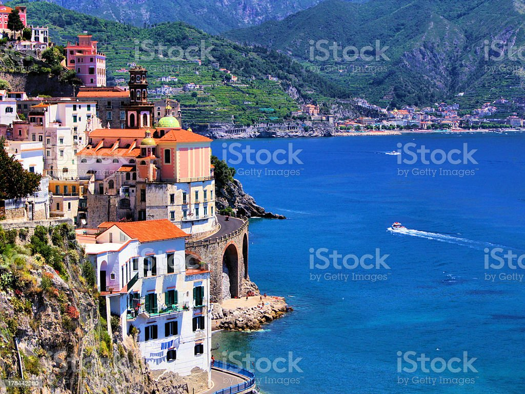 Beautiful village of Atrani along the Amalfi Coast, Italy stock photo