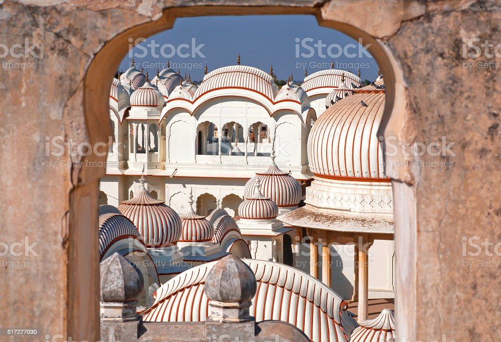 Beautiful vintage design stone towers of Indian temple stock photo