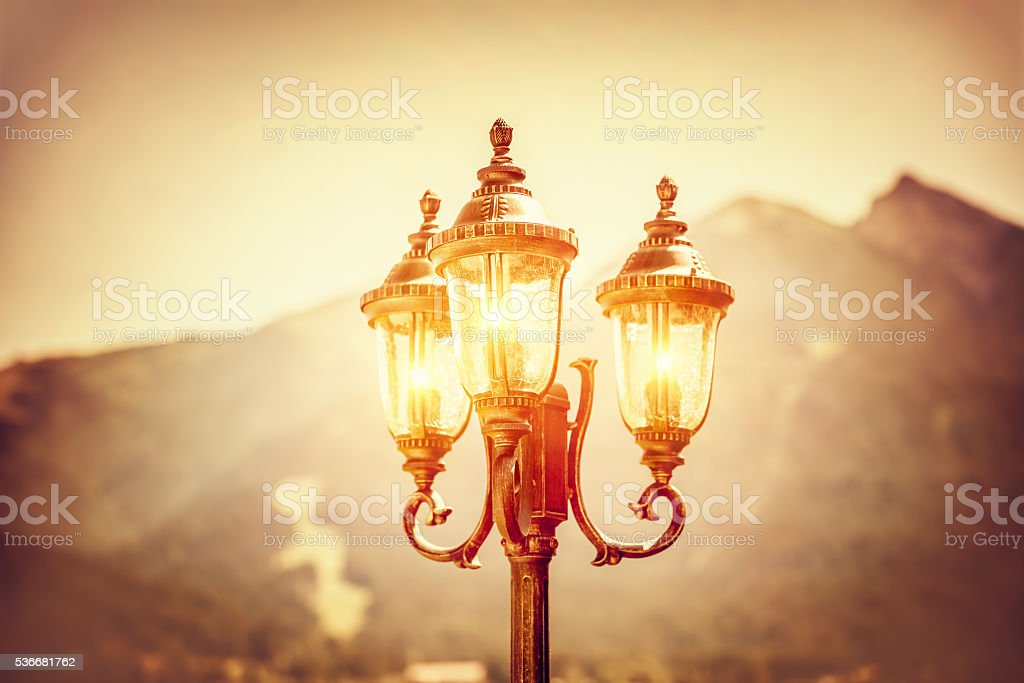 Beautiful vintage street lamp stock photo