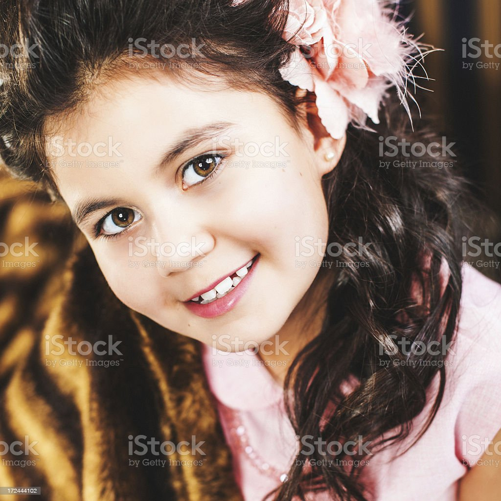 Beautiful vintage styled little girl royalty-free stock photo