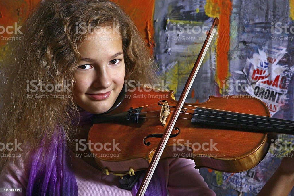 Beautiful violin musician stock photo