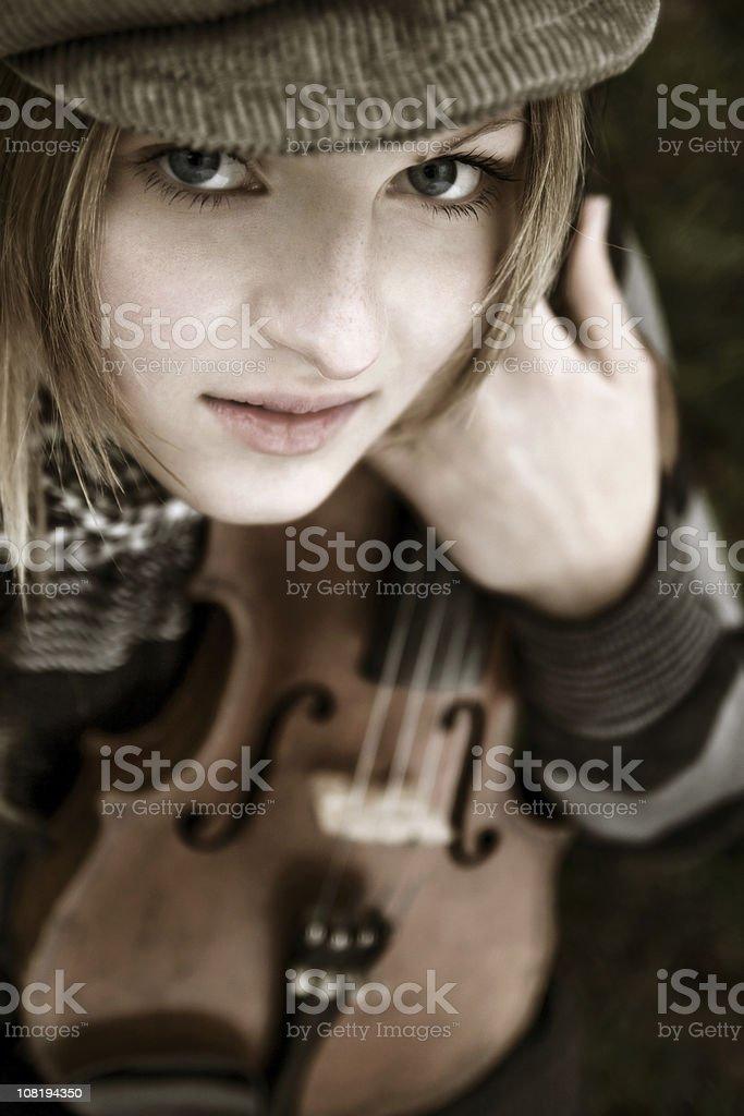 Beautiful violinist royalty-free stock photo