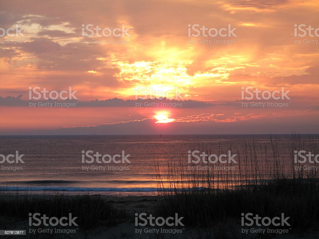Beautiful Virginia Lovers Sunrise on Sandbridge Beach stock photo