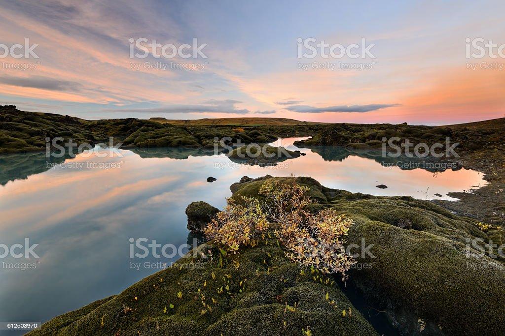 Beautiful volcanic landscape of Iceland at sunset. stock photo