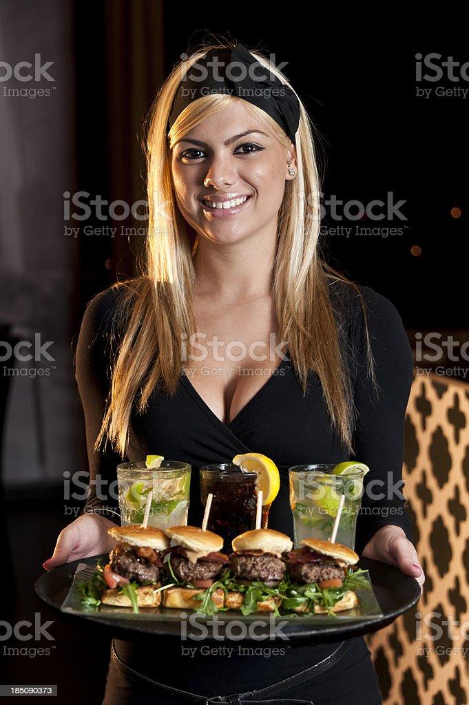beautiful waitress stock photo