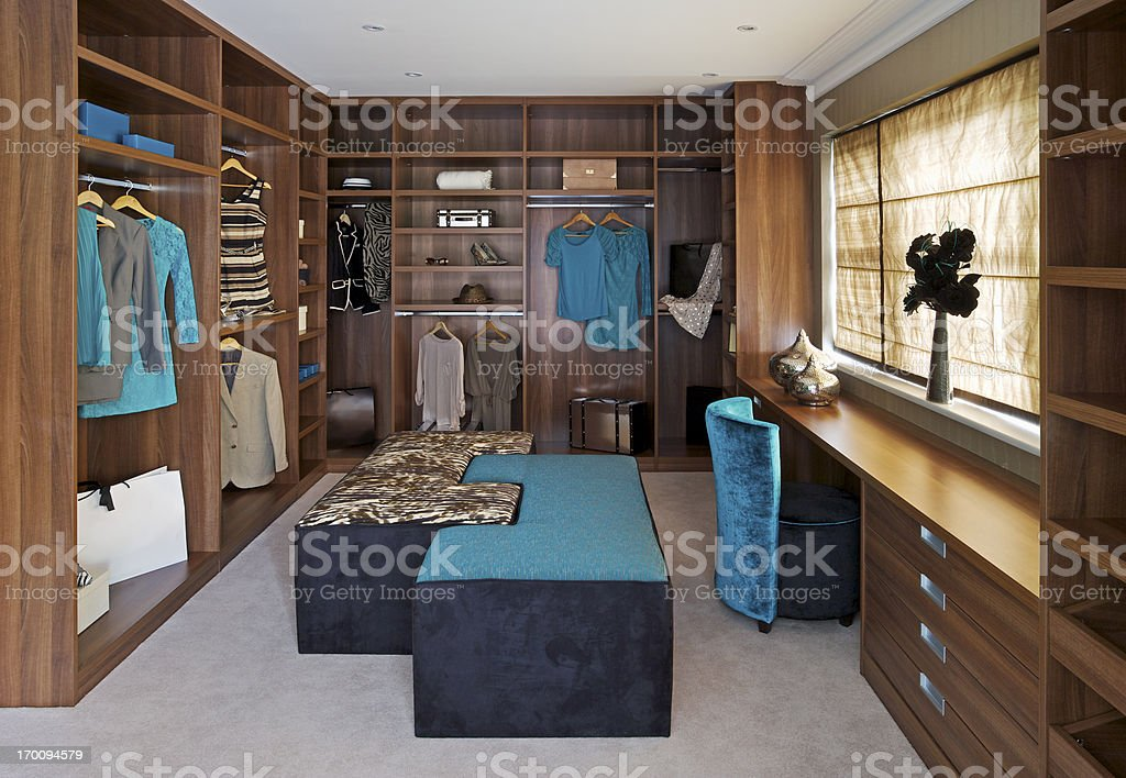 beautiful walk in wardrobe stock photo