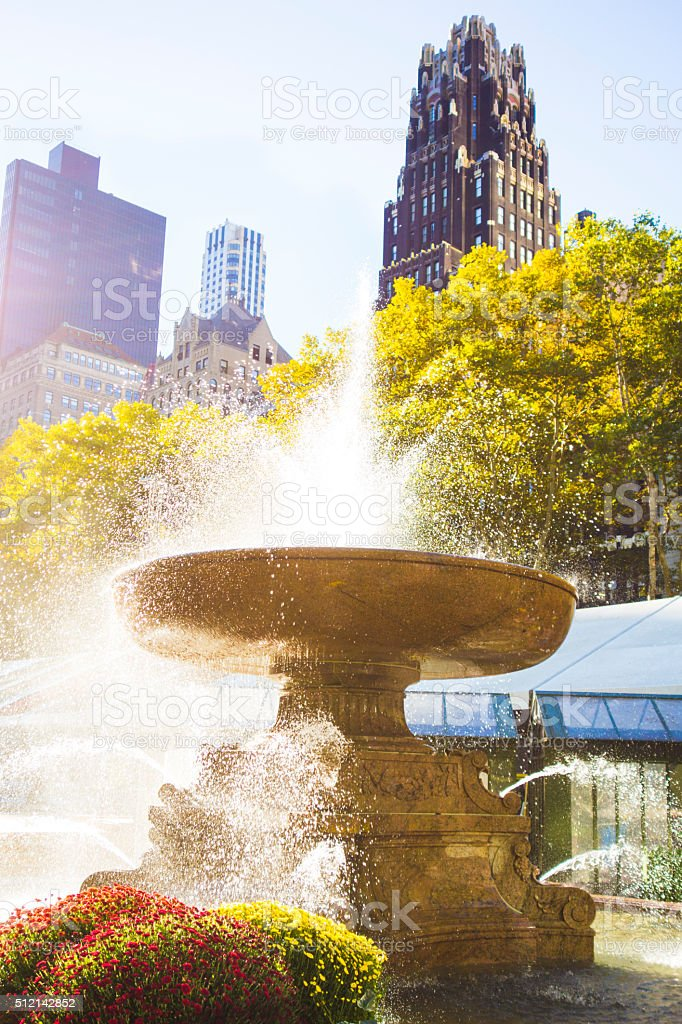 Beautiful Water Fountain In Bryant Park, Manhattan stock photo
