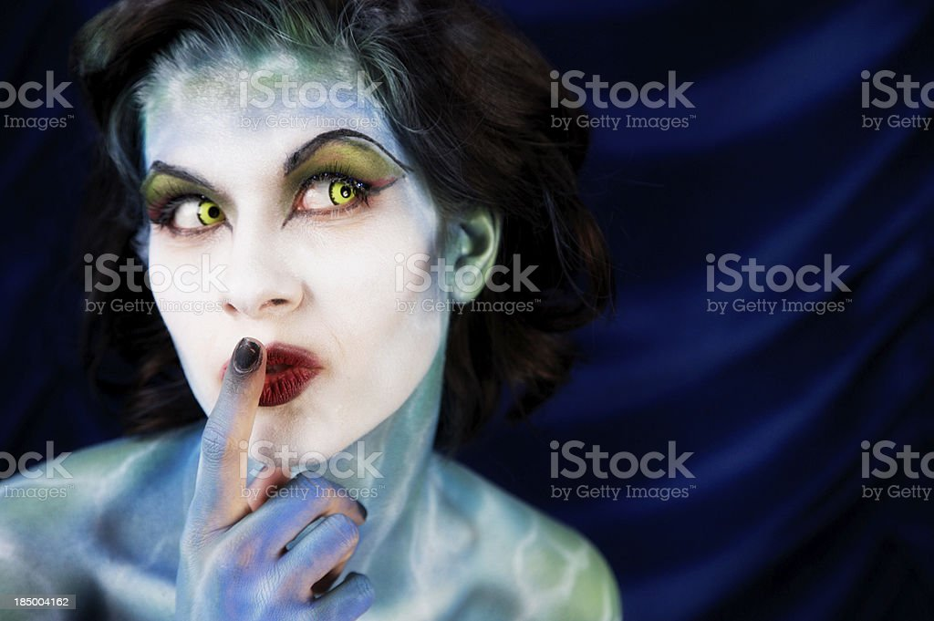 Beautiful Water Nymph Making Quiet Gesture royalty-free stock photo
