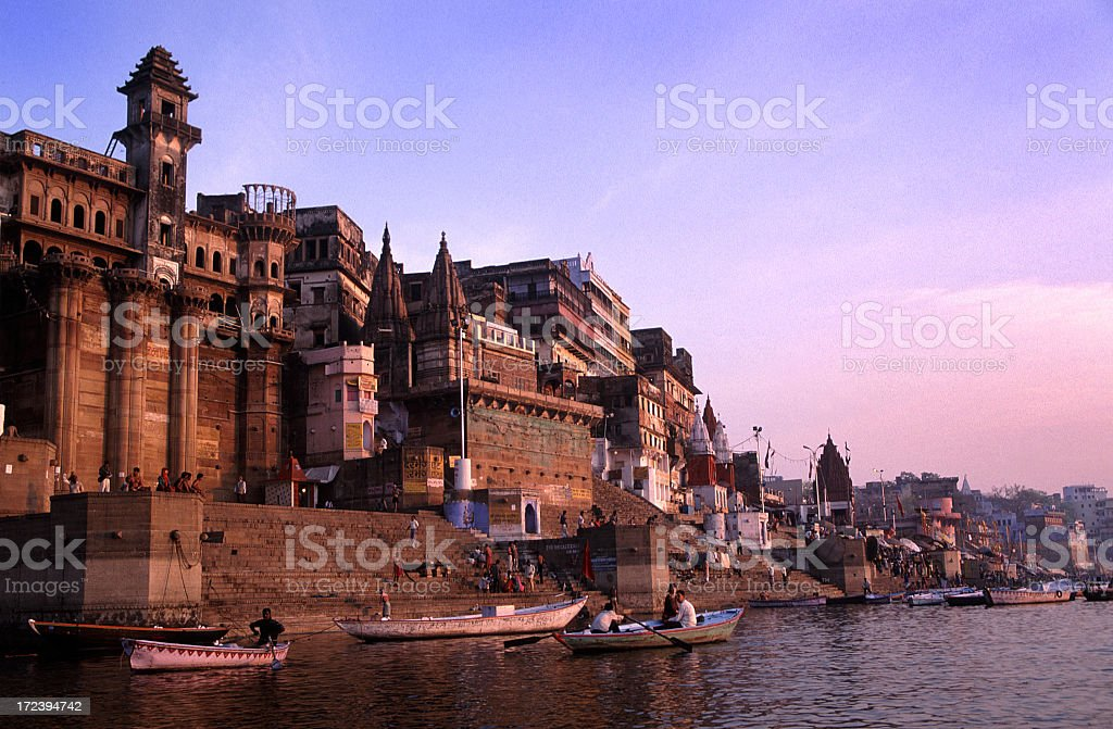 Beautiful water view in the morning of Ganges Varanasi India stock photo